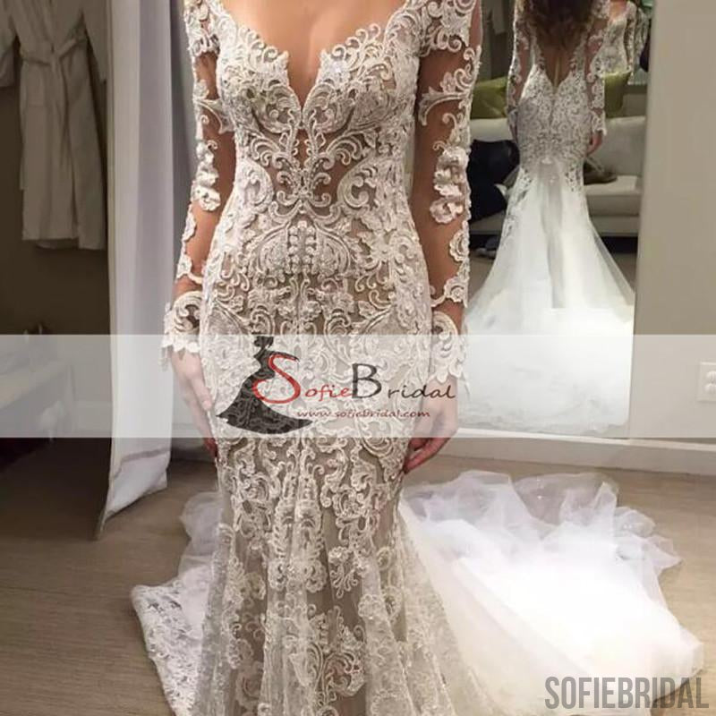 Long Sleeve Lace Wedding Dresses, Sexy Mermaid Bridal Gown, Wedding Dresses, WD0265