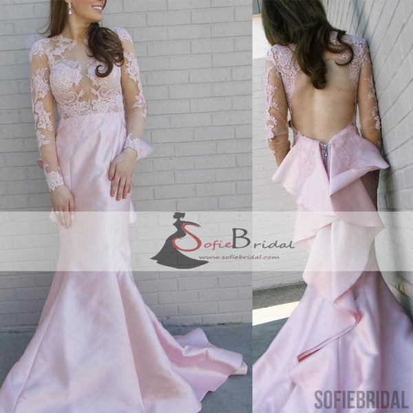 Long Sleeve Lace Satin Mermaid Prom Dresses, Open Back Ruffles Prom Dress, Prom Dresses, PD0431
