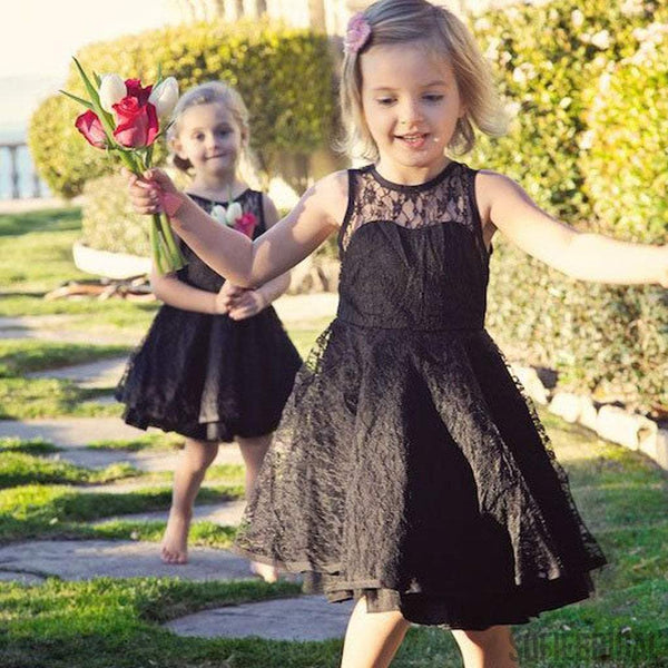 Round Neck Illusion Black Lace Cute V-back Flower Girl Dresses, Little Girl Birthday Dress, FG013