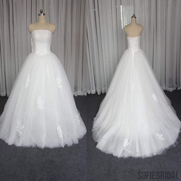 Straight Neckline Lace Tulle Gorgeous Little Tail Lace Up Wedding Dresses, WD0225