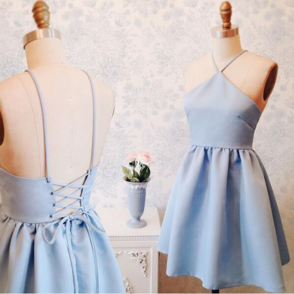 Halter Simple Cute Cheap Blue Homecoming Dresses 2018, CM433