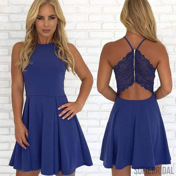 Navy Homecoming Dresses, Cheap Homecoming Dresses, Simple Lace Hoemcoming Dresses, SF0097