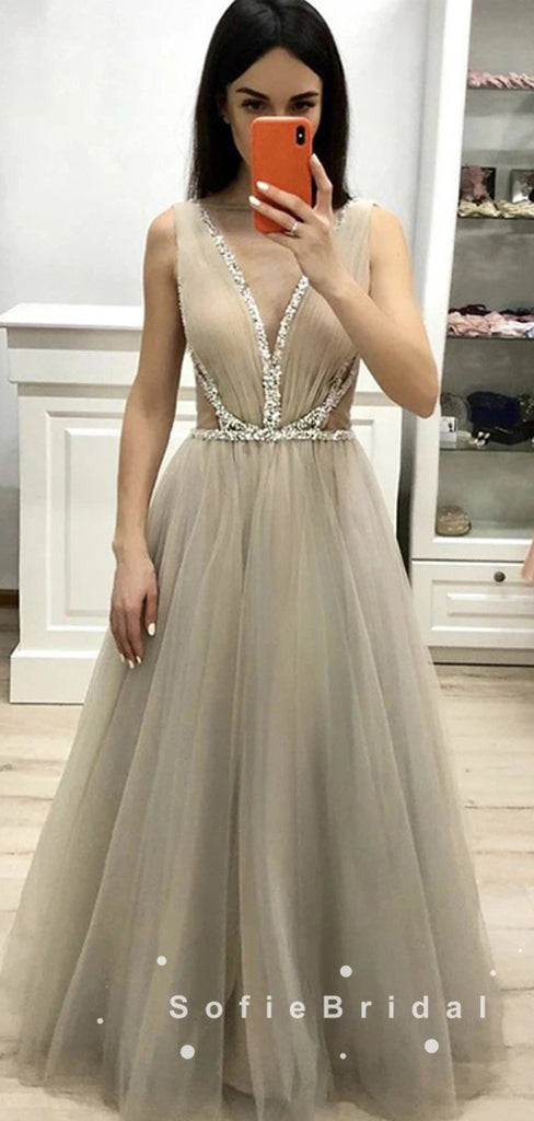 A-Line Deep V-Neck Sleeveless Tulle Long Prom Dresses With Beading,SFPD0002