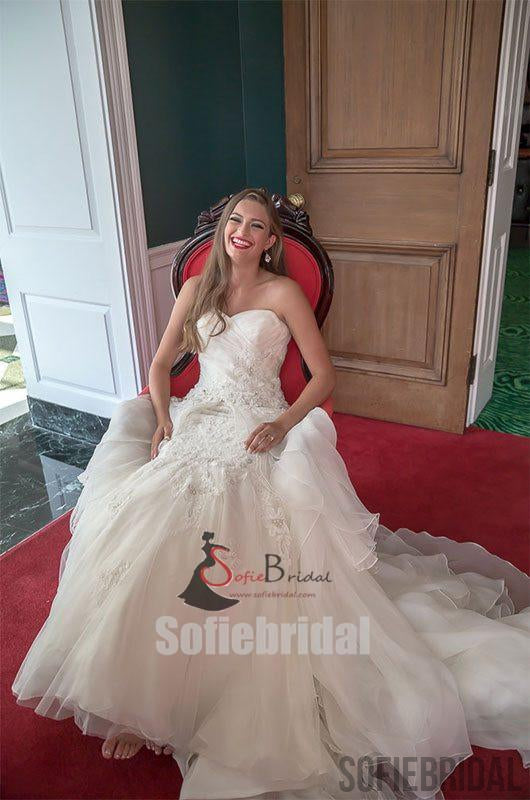 Sweetheart Lace Chiffon Long Elegant Wedding Dresses, Affordable Wedding Dresses, WD0245