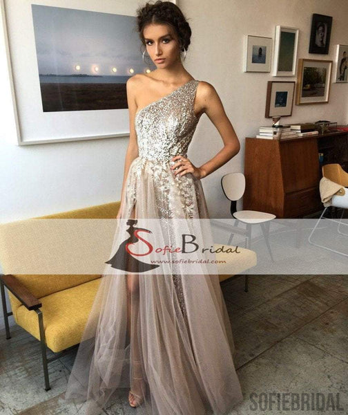 One Shoulder Appliques Beaded Prom Dresses, Tulle Side Slit Prom Dresses, Prom Dresses, PD0449