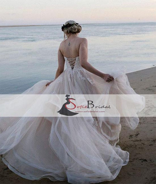 Sweetheart Lace Tulle Wedding Dresses, Beach Wedding Dresses, Lace Up Wedding Dresses, WD0269