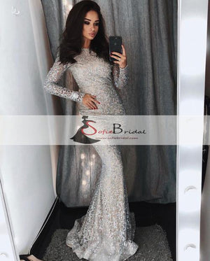 Long Sleeve Silver Sequin Mermaid Long Sleeve Prom Dresses, Sparkle Prom Dresses, PD0459