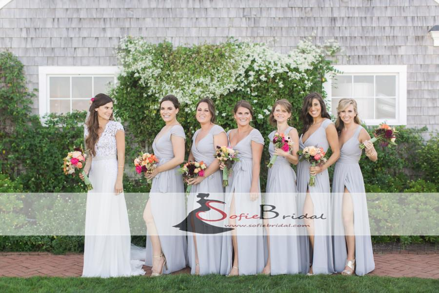 Light Grey Chiffon Bridesmaid Dresses, Cap Sleeve Side Slit Bridesmaid Dresses, PD0484