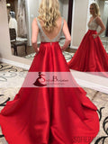 V-neck Rhinestone Beaded Top Prom Dresses, Red Satin Prom Dresses, Evening Dresses, PD0426