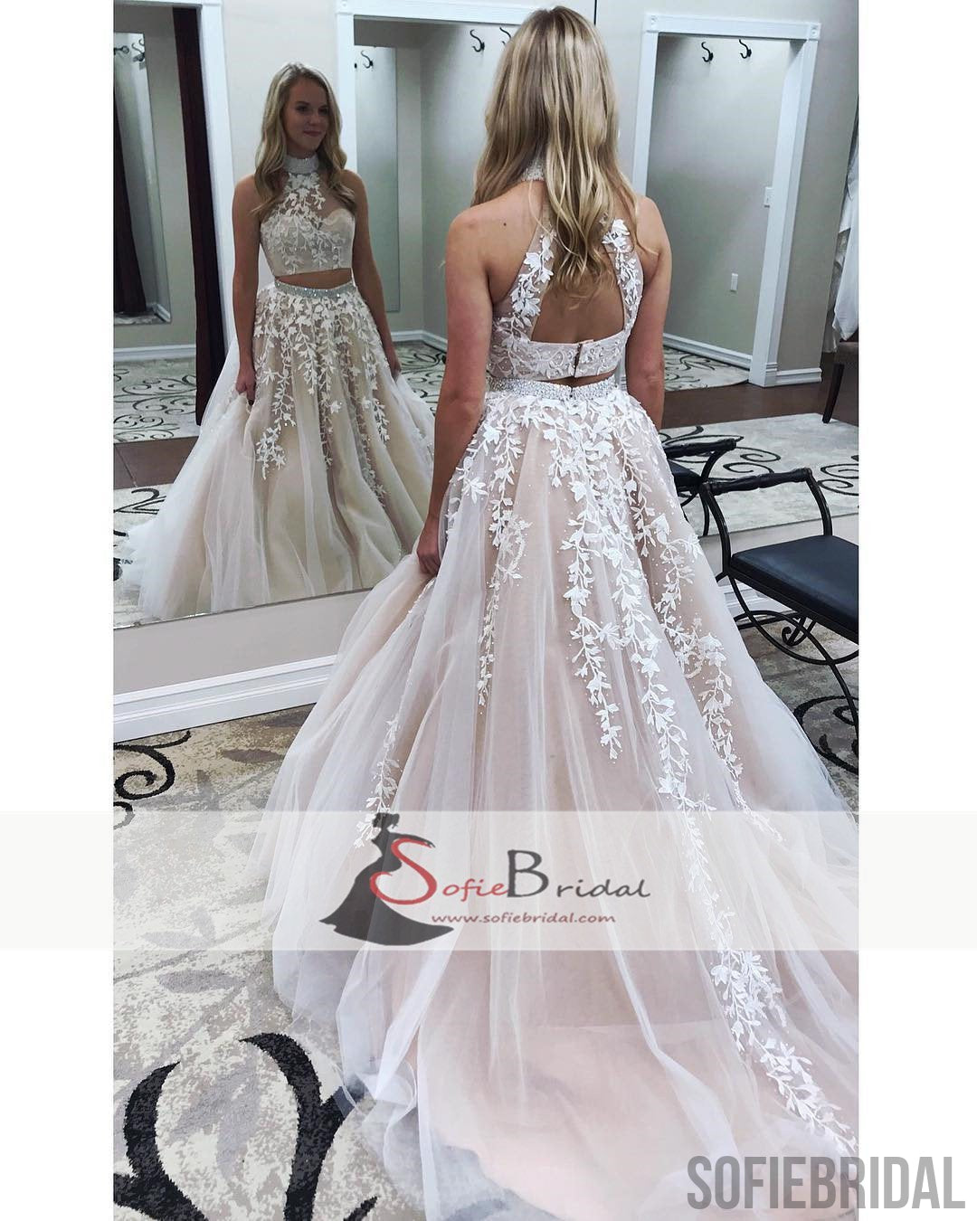 2 Pieces Lace Tulle Prom Dresses, Lovely Open Back Halter Prom ...