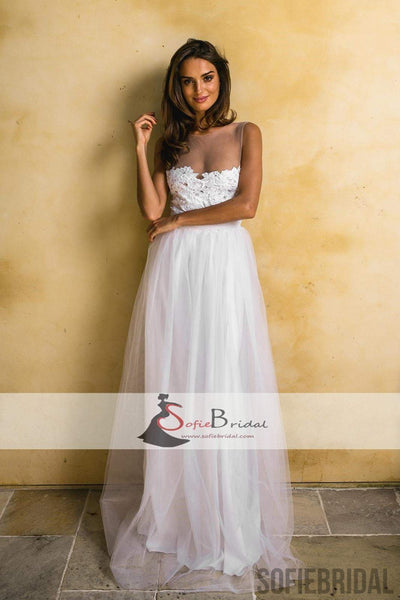 Simple Design Lace Tulle A-line Wedding Dresses, Cheap Wedding Dresses, Bridal Gown, WD0249