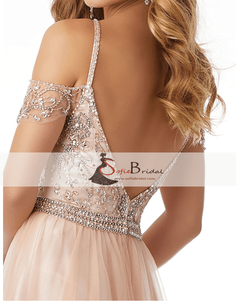 Light Blue Off Shoulder Rhinestone Beaded Tulle Prom Dresses, Lovely Prom Dresses, PD0416