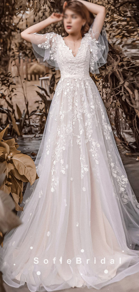A-Line V-Neck Short Sleeves Tulle Long Wedding Dresses With Lace,SFWD0020