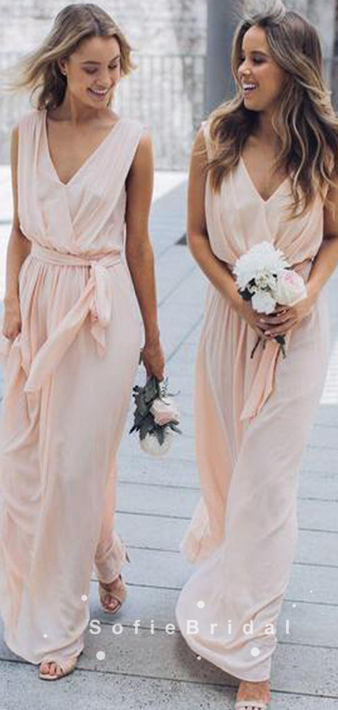 A-Line V-Neck Sleeveless Pleats Chiffon Bridesmaid Dresses With Belt,SFWG0020