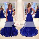 Royal Blue Lace Prom Dresses, Deep V-neck A-line Prom Dresses, Beaded Prom Dresses, PD0447