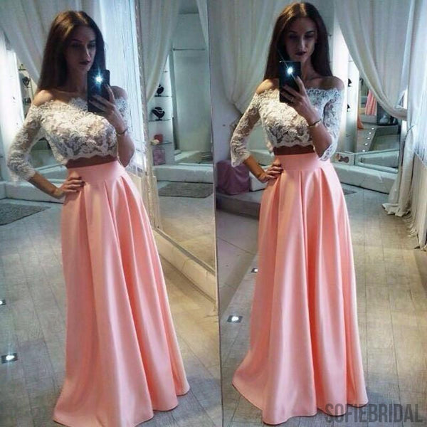 Two Pieces White Lace Top Long Sleeve Pink Satin Long A-line Prom Dresses, PD0275