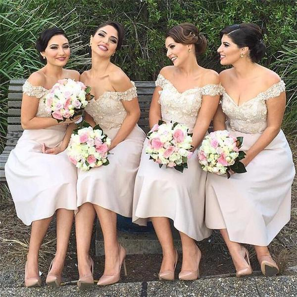 Off Shoulder Knee Length Appliques Cute Bridesmaid Dresses, PD0252