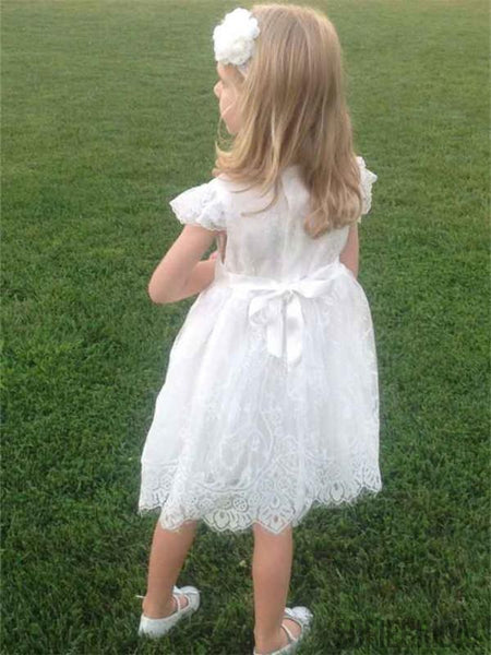 A-line Round Neck Cap Sleeves Knee-length Lace Flower Girl Dresses, FG0109