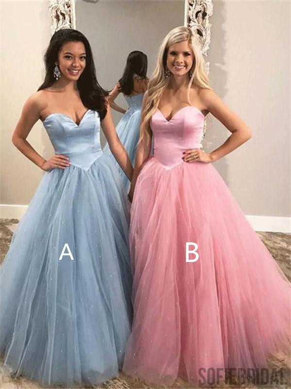 2019 A-line Sweetheart Pink Tulle Zipper Back Prom Dresses, PD0042