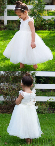 A-line Round Neck Lace Cap Sleeves Tulle Flower Girl Dresses , FG0106