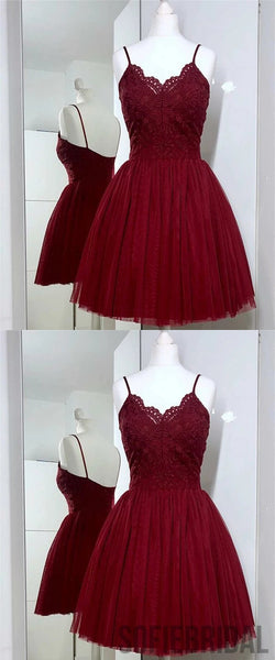 A-Line Spaghetti Strap Lace Appliques Top Tulle Homecoming Dress, HD0173