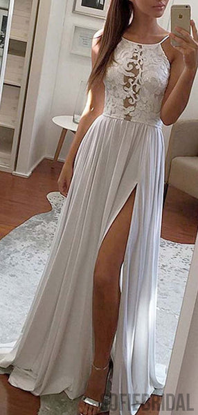 White Lace A-line Side Slit Prom Dresses, Cheap Popular Prom Dresses, PD0769