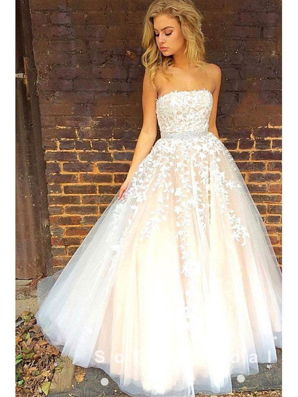 A-Line Strapless Tulle Lace Floor Length Prom Dresses With Beading,SFPD0020