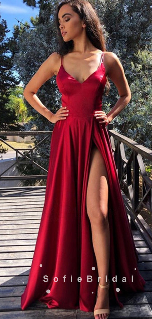 A-Line V-Neck Spaghetti Straps Red Cheap Long Prom Dresses With Slit,SFPD0021