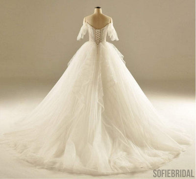 Sweetheart Off Shoulder Half Sleeve Ivory Lace Tulle Ball Gown Lace Up Wedding Dresses, WD0111