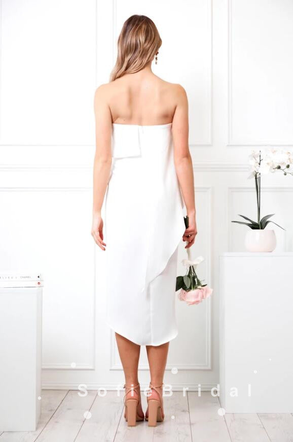 Sheath Strapless White Chiffon Side Slit Chiffon Short Bridesmaid Dresses,SFWG0021