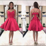 Cheap Simple Watermelon Spaghetti Straps Red Homecoming Dresses, CM453