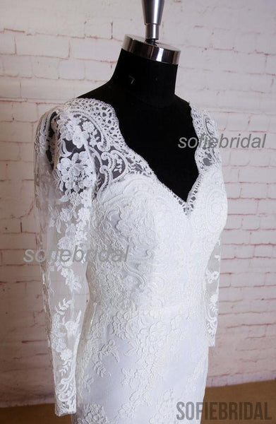 Long Sleeve Lace V-back Sheath Elegant Wedding Party Dresses, WD0212