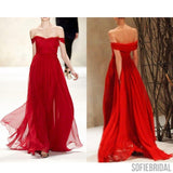 Off Shoulder Red Chiffon Long A-line Cheap Popular Prom Dresses, PD0543
