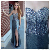 Sweetheart Shinning Rhinestone Sequin Side Slit Long Prom Dresses, WD0224