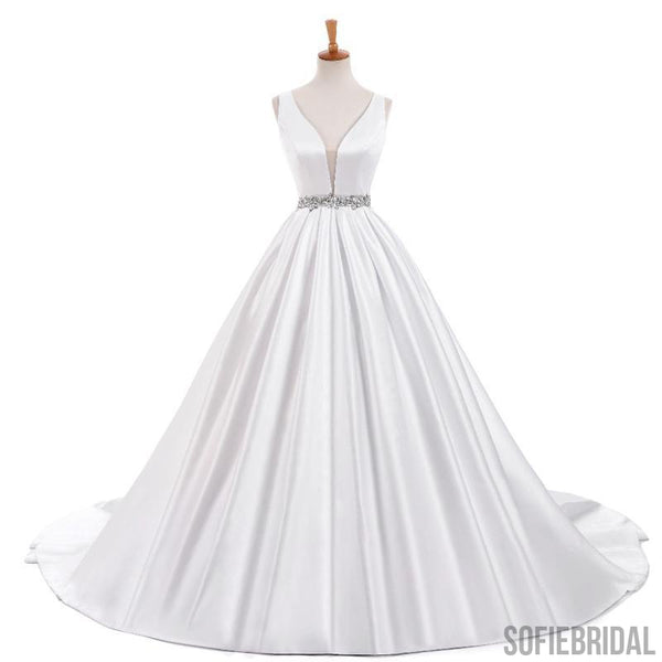 V-neck Elegant Simple Design White Satin A-line Beaded Belt Wedding Dresses, WD0240
