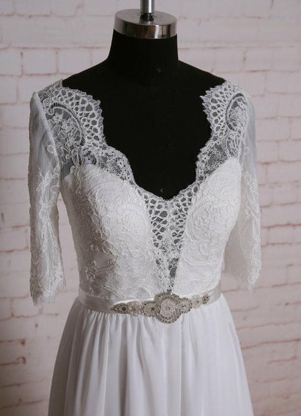 Long Sleeves Lace Cheap Beach Wedding Dresses Online, WD378