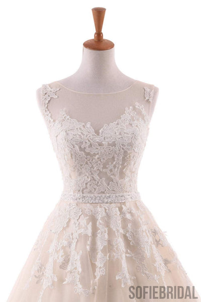 Ivory Lace Appliques A-line Tulle Wedding Dresses, Beaded Belt Wedding Dresses, WD0241