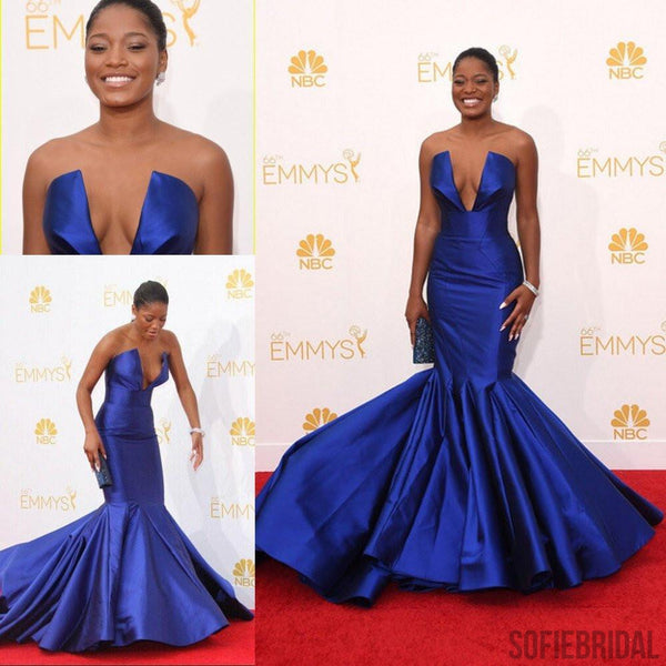 Elegant Royal Blue Satin Long Mermaid Celebrity Inspired Long Prom Dresses, PD0258