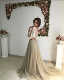 Long Sleeve White Lace Top See Through Elegant Long A-line Tulle Prom Dresses, PD0536