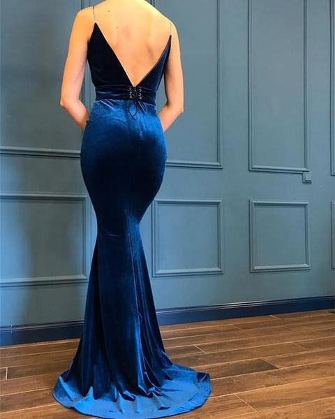 Spaghetti Long Mermaid V-neck Velvet Prom Dresses, PD0972