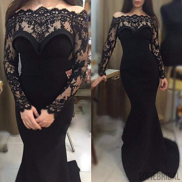 Sexy Gorgeous Off Shoulder Long Sleeve Black Lace Mermaid Long Prom Dresses, PD0566