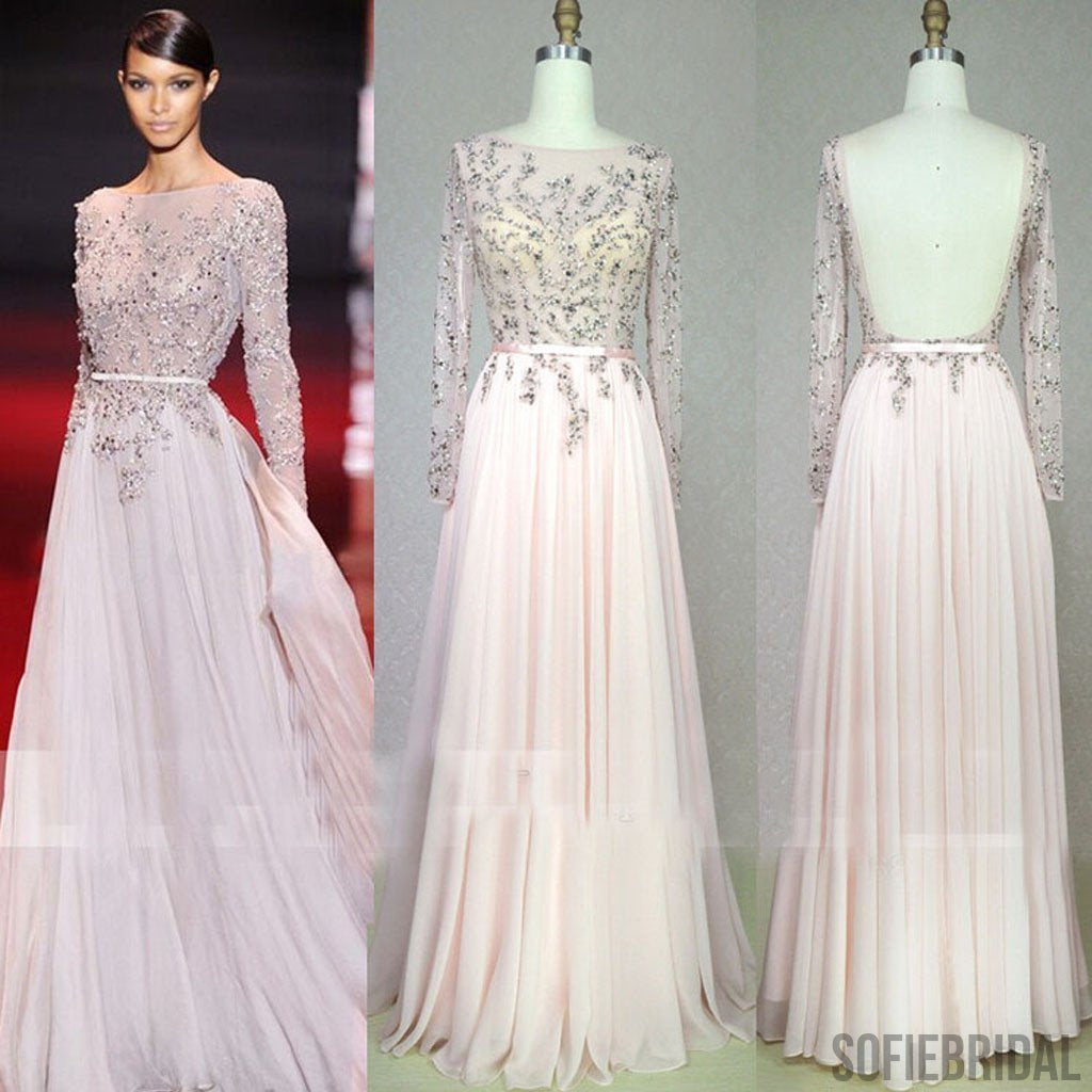Scoop Neckline, Beaded See Through Backless Long A-line Pale Pink Chiffon Prom Dresses, PD0562
