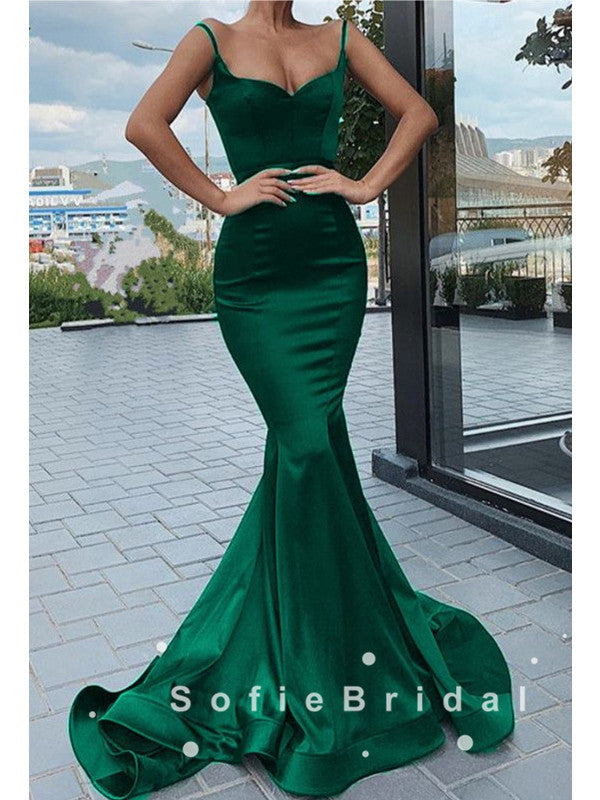 Mermaid V-Neck Spaghetti Straps Simple Long Prom Dresses,SFPD0022