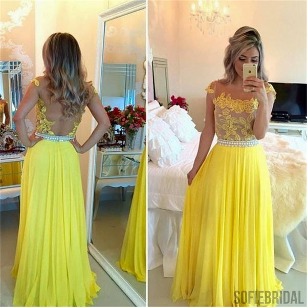 See Through Yellow Appliques Long A-line Chiffon Prom Dresses, PD0279