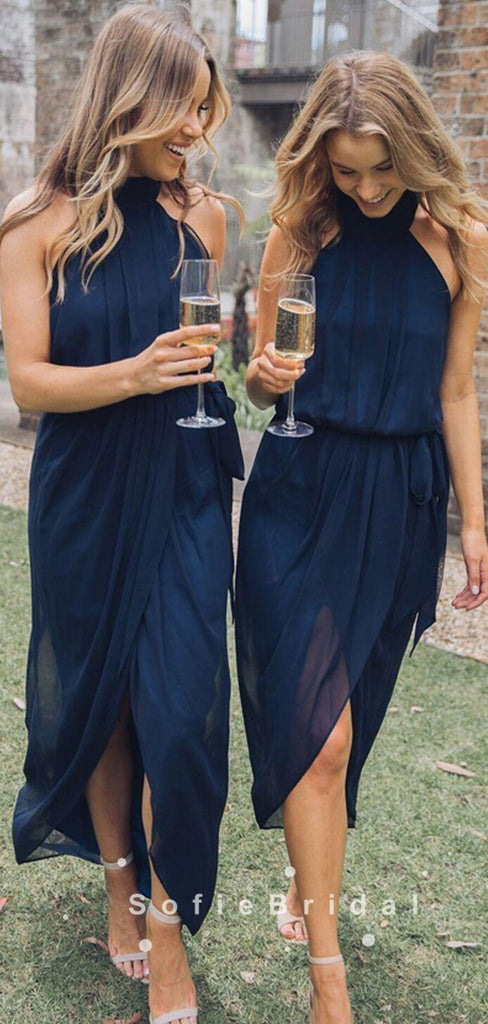 Sheath Halter Dark Navy Chiffon Simple Short Bridesmaid Dresses,SFWG0023