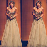 Taylor Swift Celebrity Inspired Sweetheart Gold Sequin Tulle Long Prom Dresses, PD0581