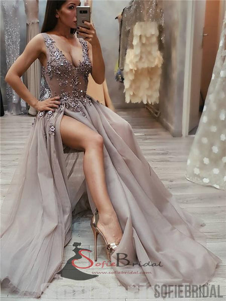 V-neck Appliques Beaded Long Side Slit Tulle Prom Dresses, PD0835