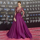 Red Carpet Inspired Plum See Through Beaded Sexy Long Sleeve A-line Satin Prom Dresses, PD0550