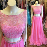 Two Pieces Round Neck Beaded Long A-line Chiffon Prom Dresses, PD0517