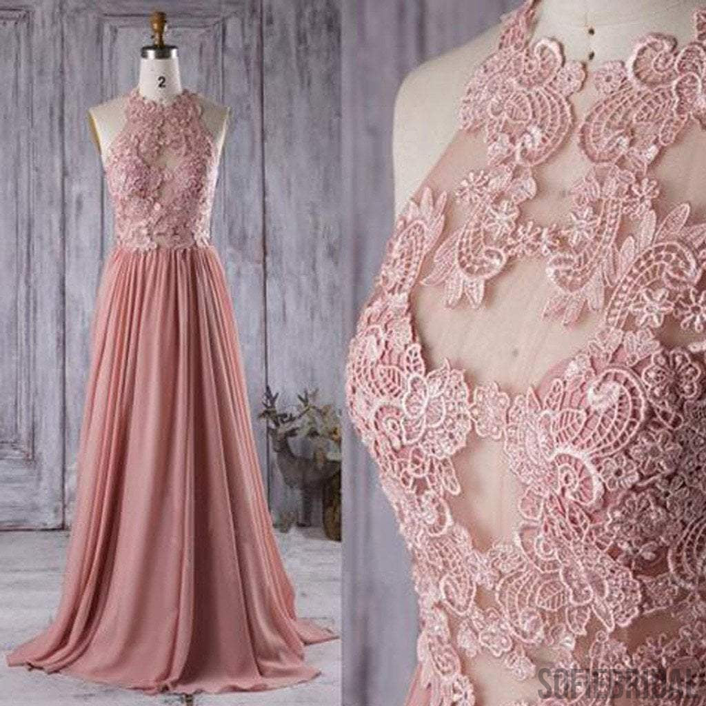 Lace Top See Through Dusty Rose Long A-line Chiffon Prom Bridesmaid Dresses, PD0534